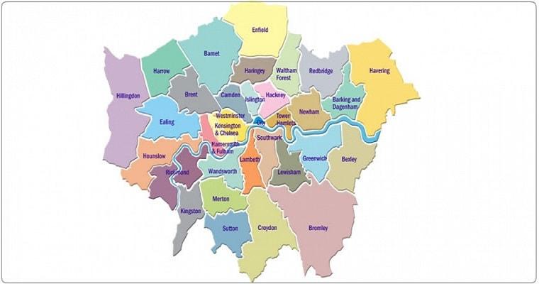 mappa dei quartieri di Londra